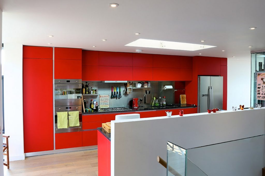 Red Lacquered kitchen in Camden